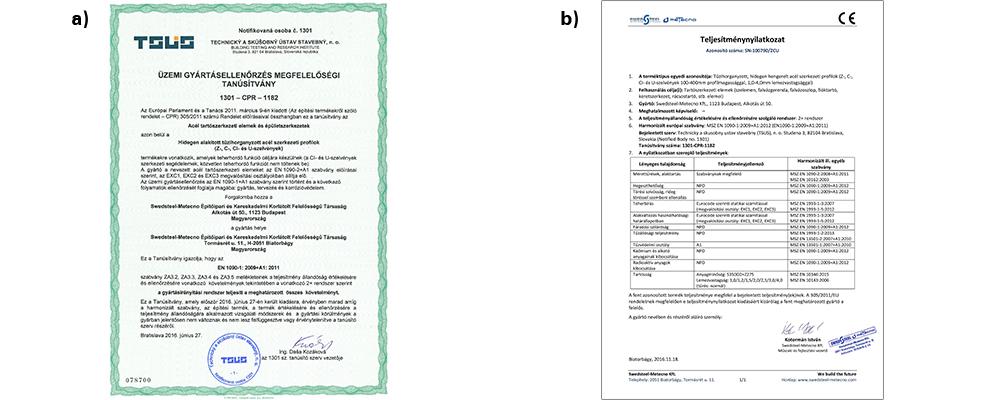 Swedsteel vékonyfalú acél szelvények minősítési dokumentumai [6]: a) CPR Tanúsítvány; b) Teljesítménynyilatkozat