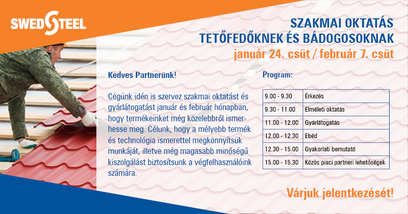 Swedsteel gyárlátogatás és szakmai oktatás bádogosoknak