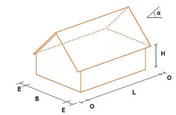 cserepeslemezes tető, ház rajz
